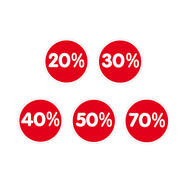 "Sticker ""Percent"", various reductions"