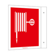 Fire Hose in a Wall Hydrant Flag Sign