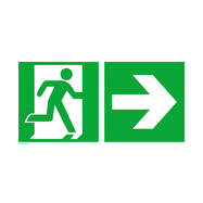 Emergency Exit Sign Right with Directional Arrow