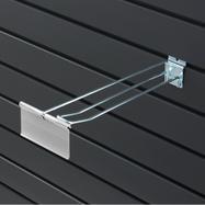 Slatwall Double Hook with Swinging Pocket