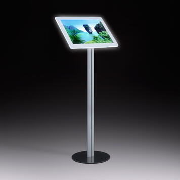 LED Magnetic Frame Info Display, freestanding, in aluminium with steel base