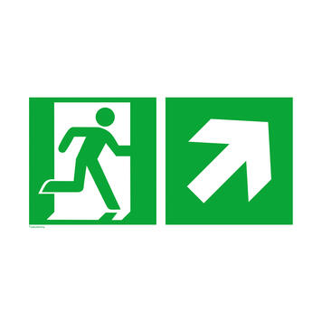 Emergency exit with directional arrow right upwards