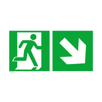 Emergency exit right with directional arrow right downwards