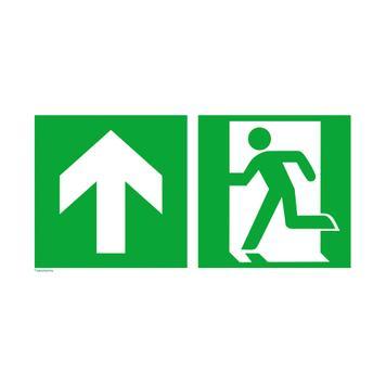Emergency exit left with directional arrow upwards