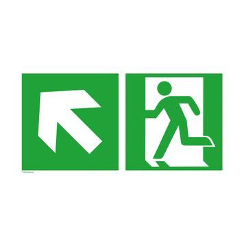 Emergency exit left with directional arrow left upwards