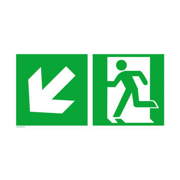 Emergency exit left with directional arrow left downwards