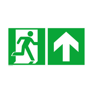 Emergency exit right with directional arrow upwards