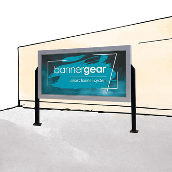 """Bannergear® Stand """"Concrete Base"""", 2-sided"""