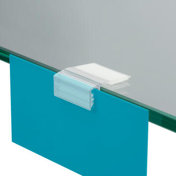 Sign Gripper for Adhereing to Wood, Glass and Metal Shelves