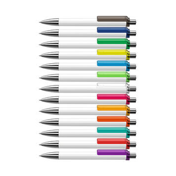 """Push Button Ballpoint Pen """"Fashion"""" in Black or White with Coloured Clip"""