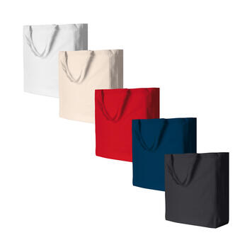 """Cotton Bag """"Shanghai"""" with side and bottom folds, short handles"""