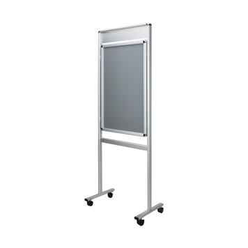 """Poster Stand """"Info"""" with header sign, 32 mm profile, silver anodised, round corners, 2-sided"""