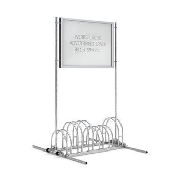 Bicycle Stand with Aluminium Click Frame as Header Board, 6 storage spaces