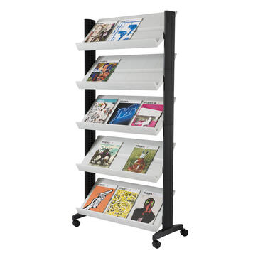 "A4 Leaflet Stand on Wheels ""Directo"" with adjustable shelves"