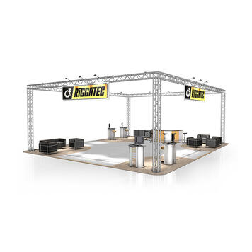 Exhibition Stand FD 34, 12,000 mm x 4500 mm x 10,000 mm (W x H x D)
