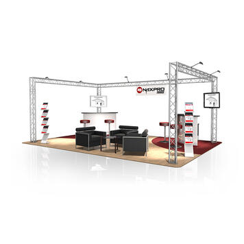 Exhibition Stand FD 23, 6000 mm x 2500 mm x 4000 mm (W x H x D)