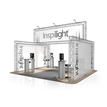 Exhibition Stand FD 24, 5000 mm x 2500 mm / 3780 mm x 4000 mm (W x H x D)