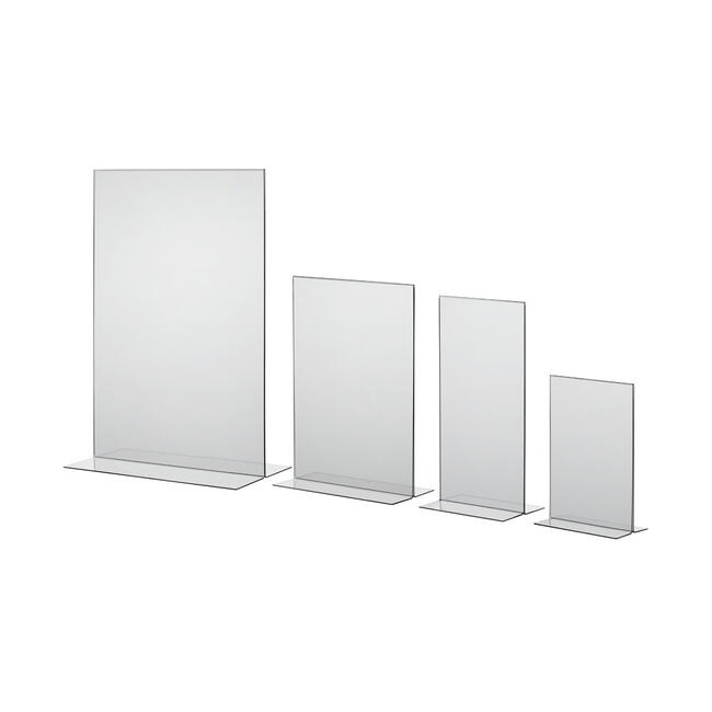 """Menu Card Holder """"T-Shape"""", different sizes, clear, 1 mm"""