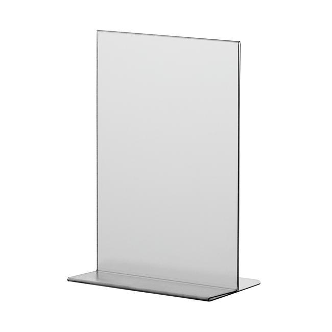 "Menu Card Holder ""T-Shape"" in Standard Paper Sizes, anti-reflective, 0.7 mm"