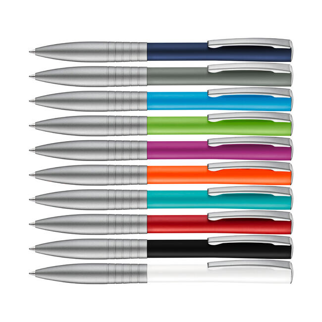 "Metal Push Button Ballpoint Pen ""Raise"" with coloured shaft"