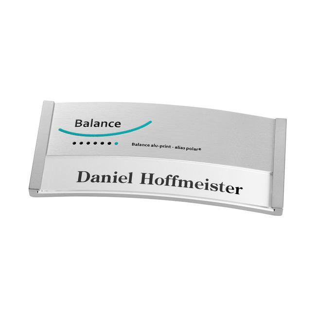"Name Badge ""Balance Alu-Print"" incl. additional printing costs"