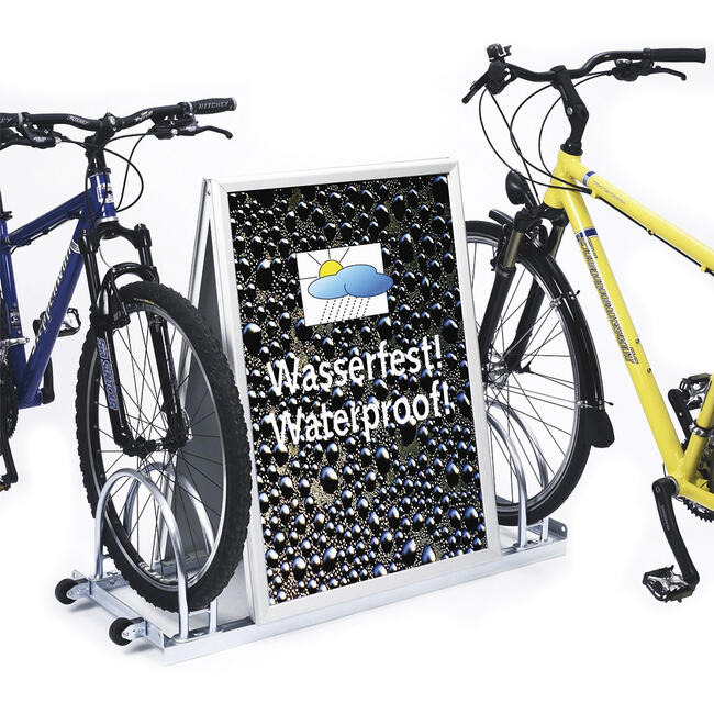 Bicycle Stand with Aluminium Click Frame in the Centre, 2 storage spaces