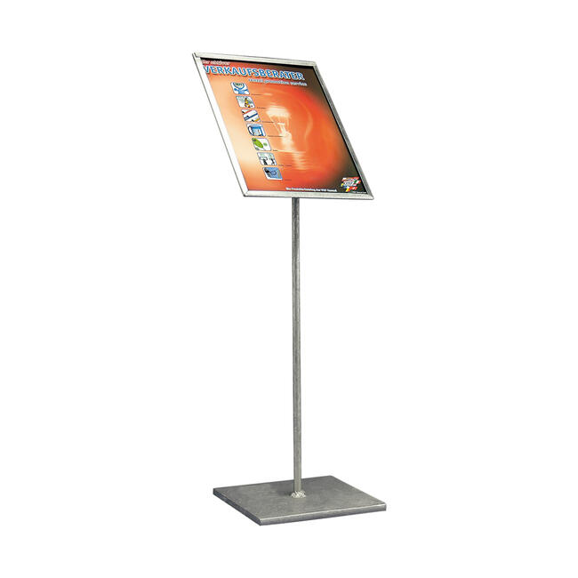 Poster Stand, zinc-plated, with angled poster frame