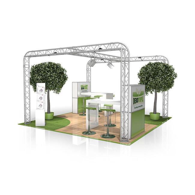 Exhibition Stand FD 23, 4000 mm x 2500 mm x 4000 mm (W x H x D)
