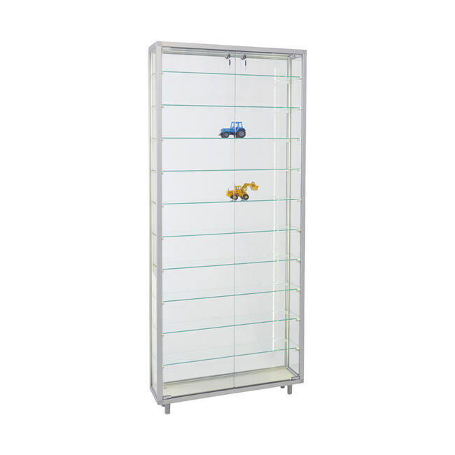 """Freestanding Showcase """"Square"""" with 10 Shelves and LED Strip Lighting"""