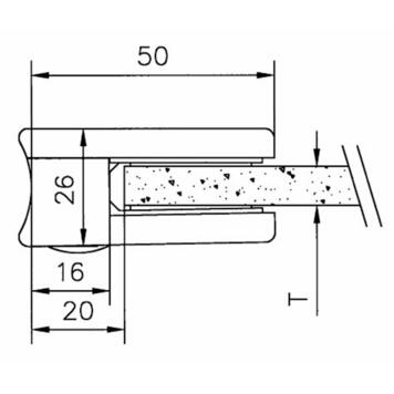 Glass clamp for mounting on pipes of 38.1 - 42.4 mm ø / 6 and 8 mm