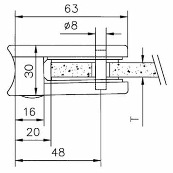 Glass clamp for mounting on pipes of 48.3 - 50.8 mm ø / 6, 8 and 10 mm