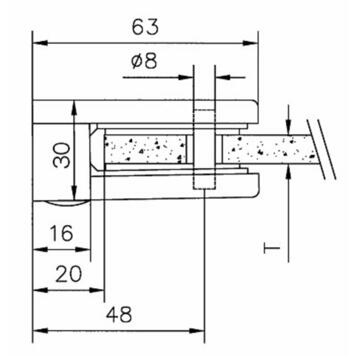 Large glass clamp for mounting on walls 6, 8 and 10 mm