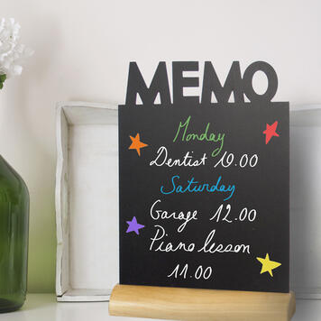 Table-Top Chalk Board with Wooden Base