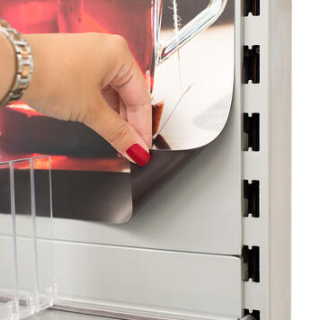 Printed magnetic sheet sign for Tegometall shelving systems