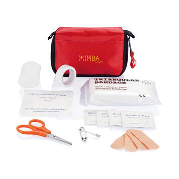 First Aid Kit in a Red Bag with Belt Loop