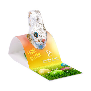 Chocolate Easter Bunny by Klett with promotional card