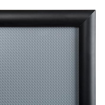 "Poster Stand ""TV dummy"", 25 mm profile, mitre corners, black"