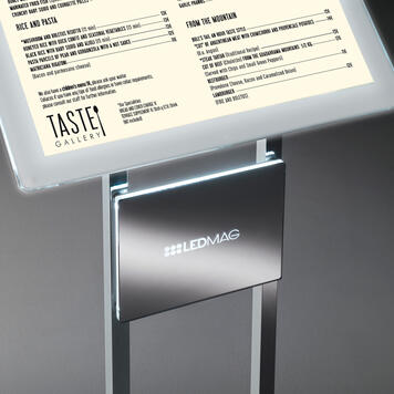 LED Magnetic Frame Info Display in Chrome Plated Steel incl. LED Magnetic Frame