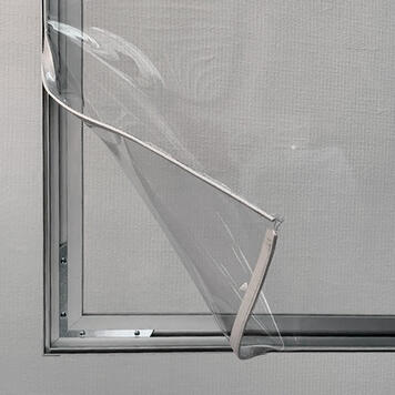 Aluminium Stretch Frame Partition with Floor Clearance and clear Banner