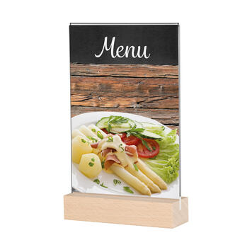 """Wooden Menu Card Holder """"Beech"""" in standard paper sizes"""