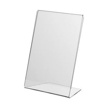 L-Display 100 x 150 mm, can be used portrait or landscape, with slanted base