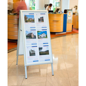 """Waterproof Pavement Sign """"Broker"""" with 35 mm Profile, mitered Corners, silver anodised"""